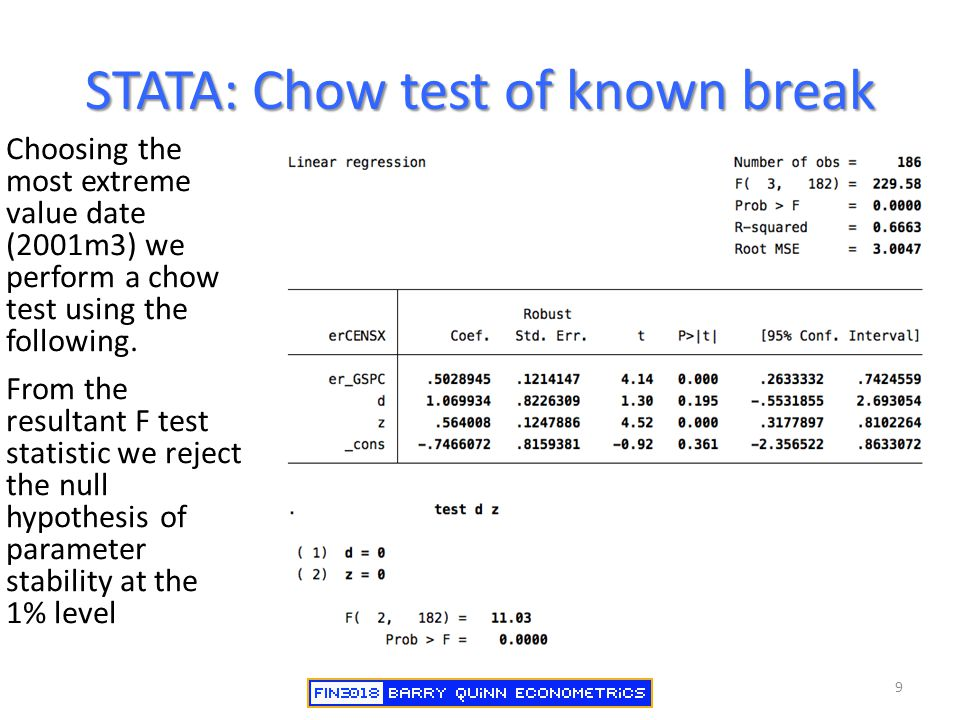 STATA: Chow test of known break Choosing the most extreme value date (2001m3) we perform a chow test using the following. From the resultant F test st