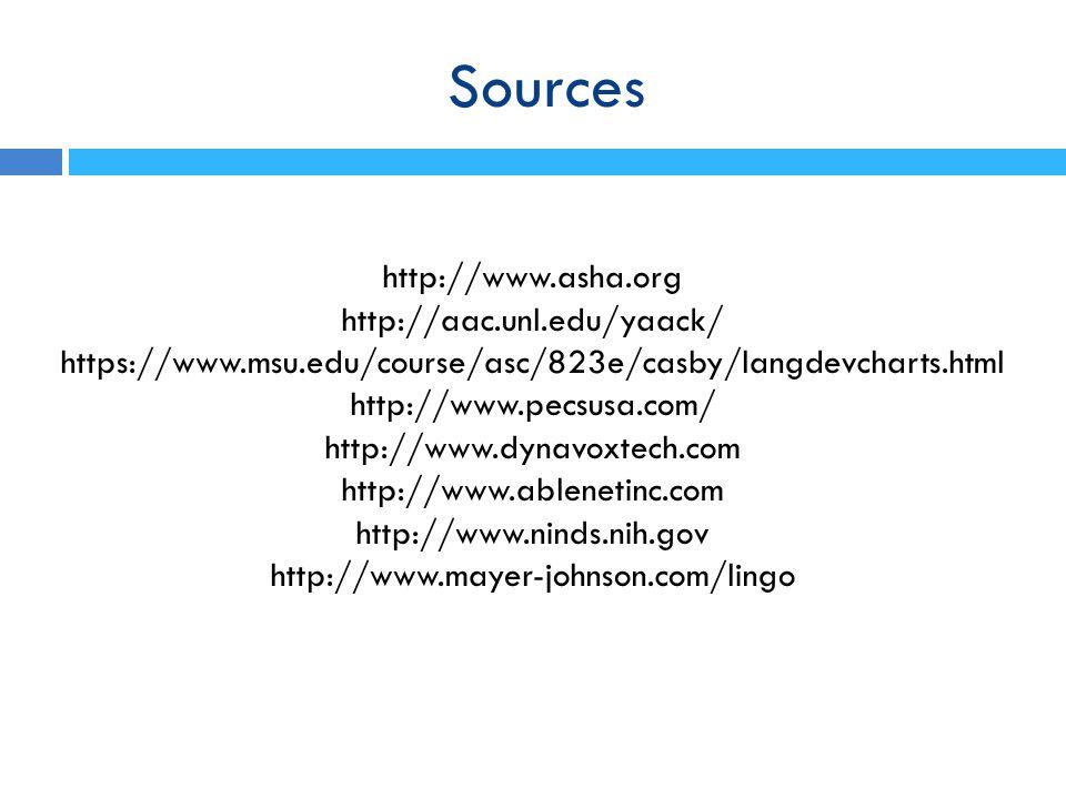 Sources http://www.asha.org http://aac.unl.edu/yaack/ https://www.msu.edu/course/asc/823e/casby/langdevcharts.html http://www.pecsusa.com/ http://www.dynavoxtech.com http://www.ablenetinc.com http://www.ninds.nih.gov http://www.mayer-johnson.com/lingo