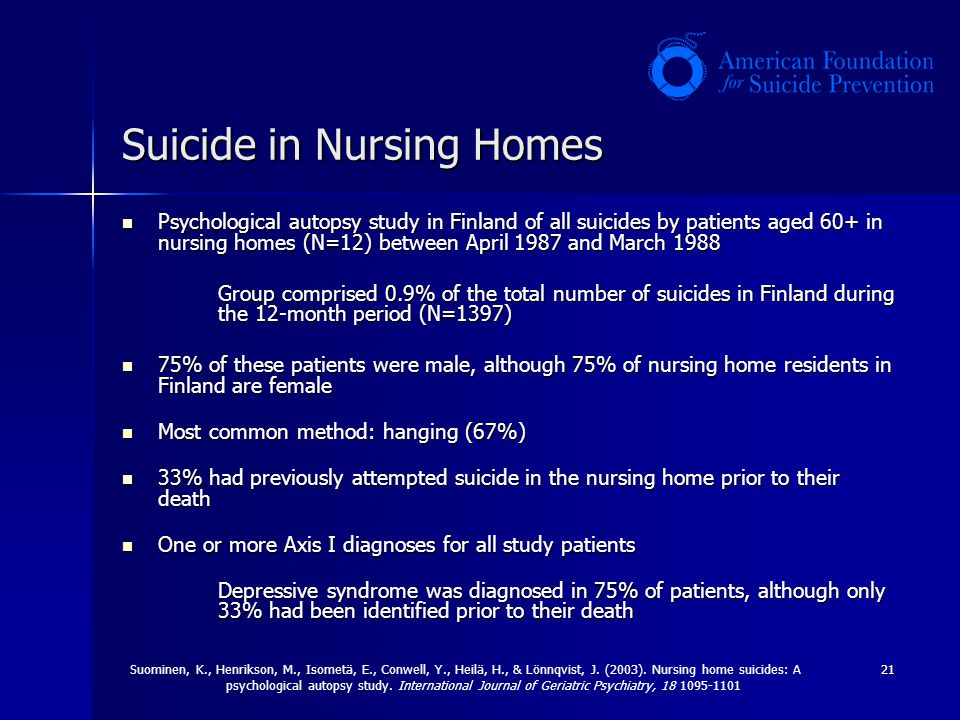 21 Suicide in Nursing Homes Psychological autopsy study in Finland of all suicides by patients aged 60+ in nursing homes (N=12) between April 1987 and