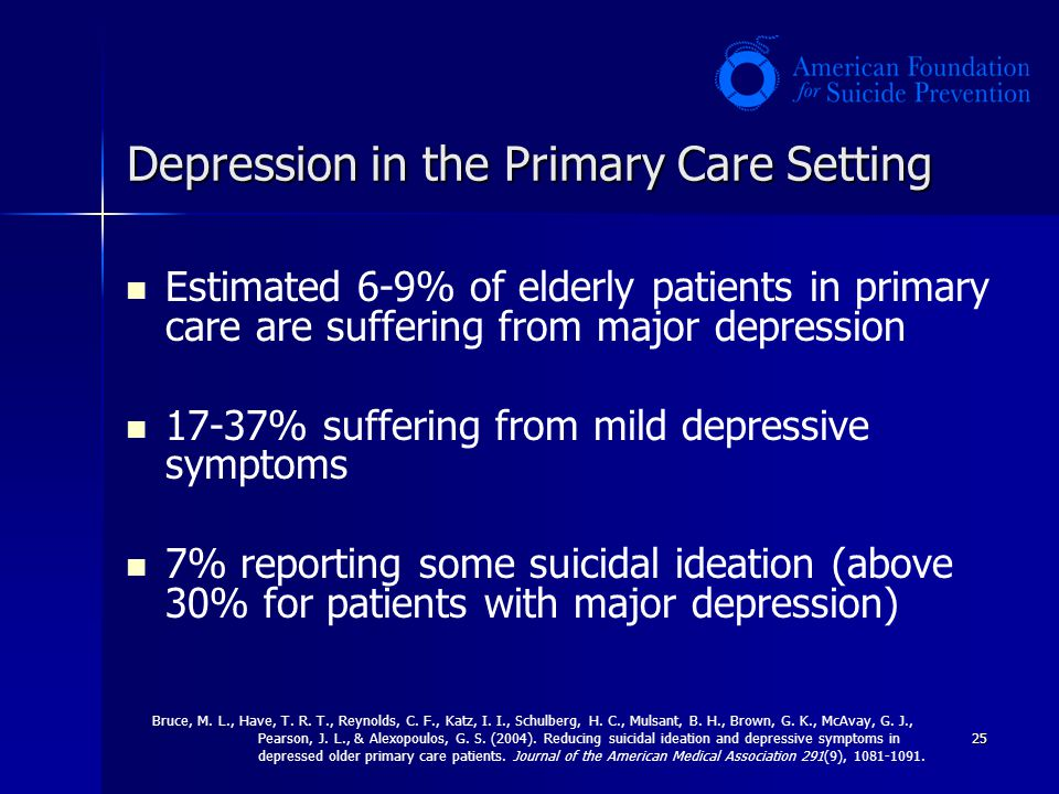 25 Depression in the Primary Care Setting Estimated 6-9% of elderly patients in primary care are suffering from major depression 17-37% suffering from