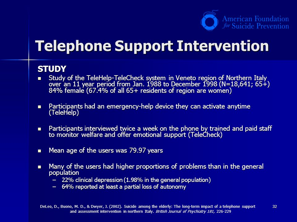 32 Telephone Support Intervention STUDY Study of the TeleHelp-TeleCheck system in Veneto region of Northern Italy over an 11 year period from Jan. 198