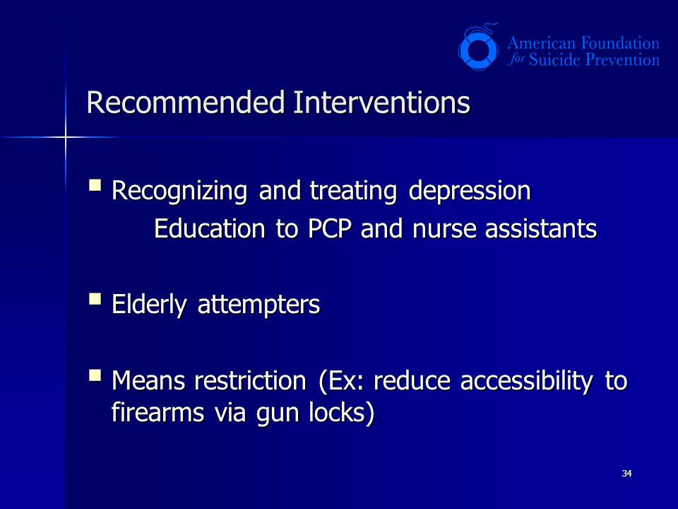 34 Recommended Interventions Recognizing and treating depression Recognizing and treating depression Education to PCP and nurse assistants Elderly att