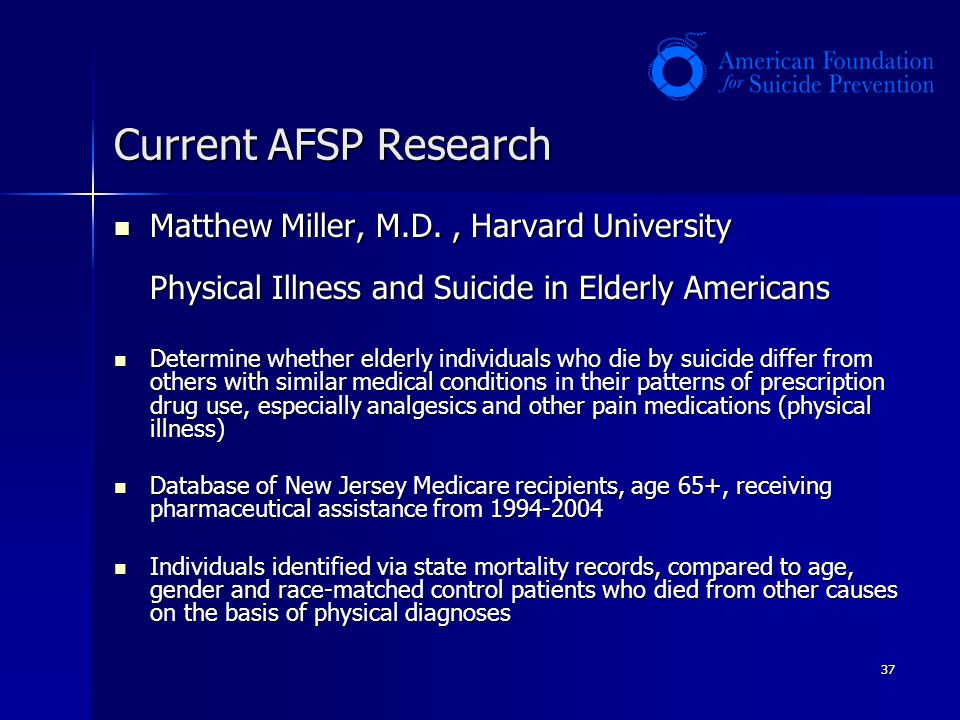 37 Current AFSP Research Matthew Miller, M.D., Harvard University Physical Illness and Suicide in Elderly Americans Matthew Miller, M.D., Harvard Univ