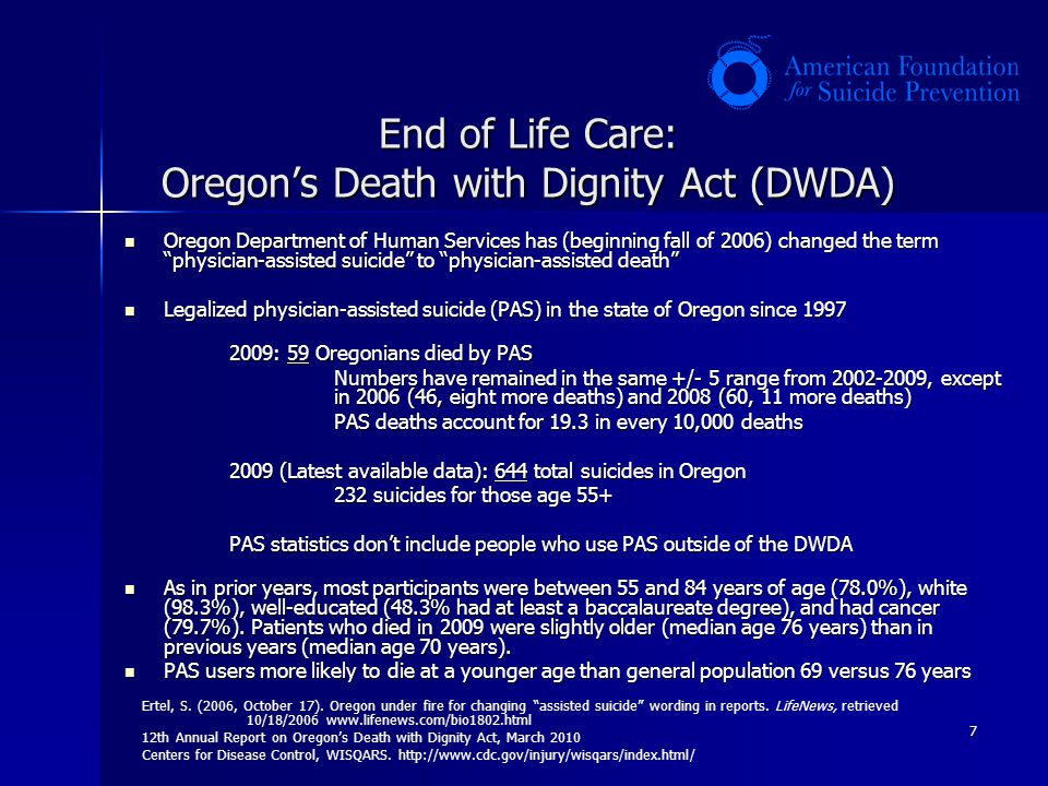 7 End of Life Care: Oregons Death with Dignity Act (DWDA) Oregon Department of Human Services has (beginning fall of 2006) changed the term physician-