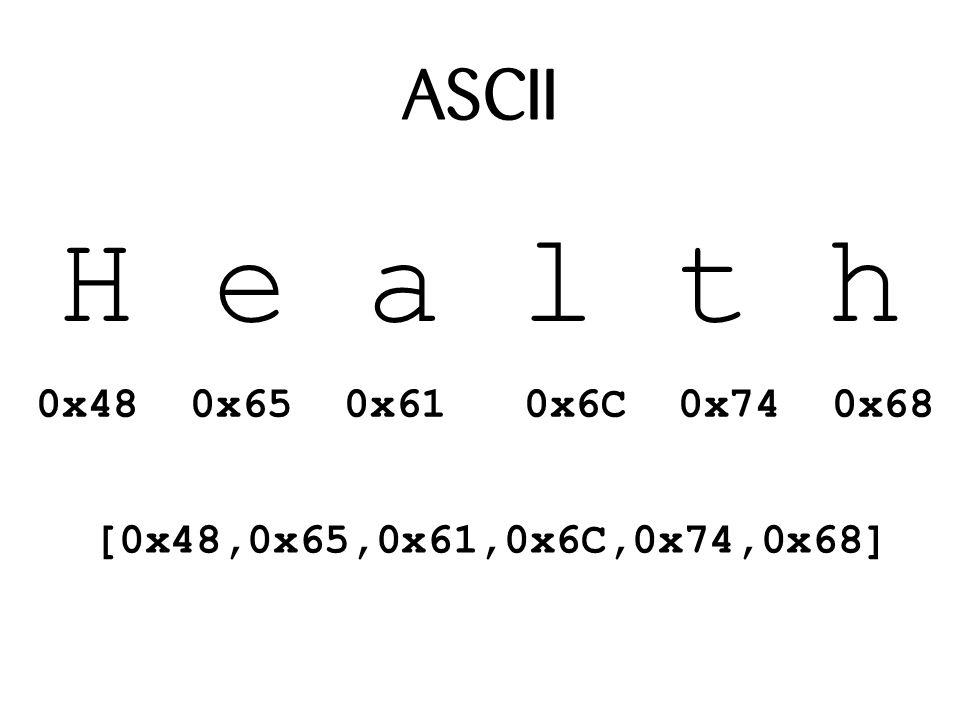 ASCII H e a l t h 0x48 0x65 0x61 0x6C 0x74 0x68 [0x48,0x65,0x61,0x6C,0x74,0x68]