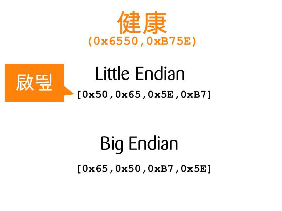 Little Endian Big Endian [0x65,0x50,0xB7,0x5E] [0x50,0x65,0x5E,0xB7] (0x6550,0xB75E)