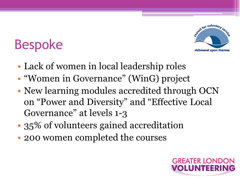 Bespoke Lack of women in local leadership roles Women in Governance (WinG) project New learning modules accredited through OCN on Power and Diversity and Effective Local Governance at levels 1-3 35% of volunteers gained accreditation 200 women completed the courses