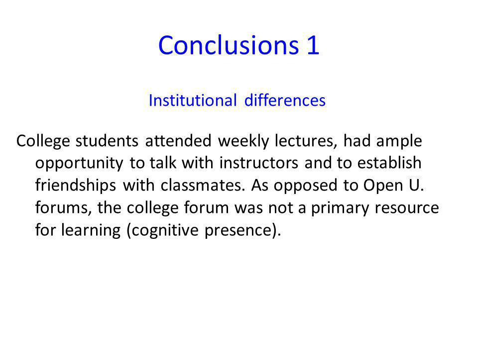 Conclusions 1 Institutional differences College students attended weekly lectures, had ample opportunity to talk with instructors and to establish friendships with classmates.