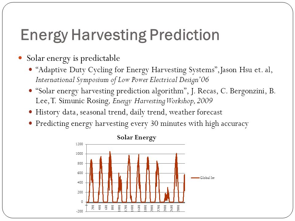 Energy Harvesting Prediction Solar energy is predictable Adaptive Duty Cycling for Energy Harvesting Systems,Jason Hsu et.