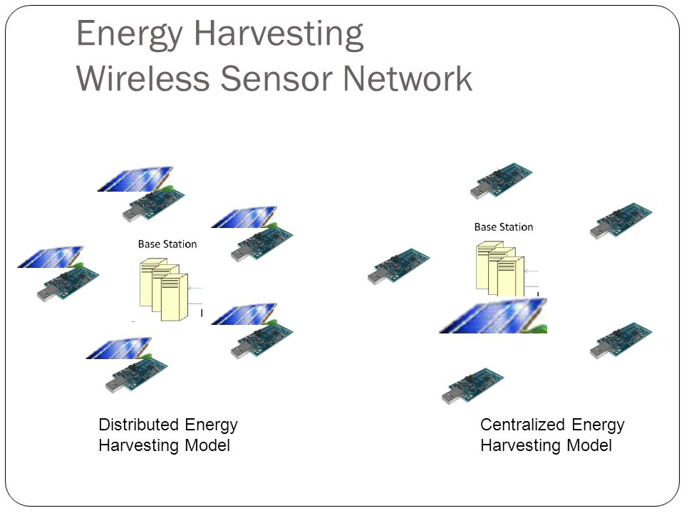 Energy Harvesting Wireless Sensor Network Data Collection – Each node records sensor value and sends update to base station – Server receives external queries, asking data from sensor nodes – Communication is costly – Trade-off between data quality and energy Queries