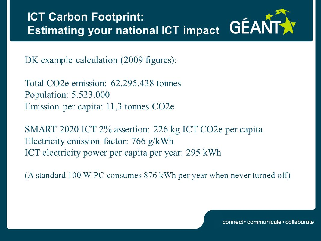 connect communicate collaborate ICT Carbon Footprint: Estimating your national ICT impact DK example calculation (2009 figures): Total CO2e emission: 62.295.438 tonnes Population: 5.523.000 Emission per capita: 11,3 tonnes CO2e SMART 2020 ICT 2% assertion: 226 kg ICT CO2e per capita Electricity emission factor: 766 g/kWh ICT electricity power per capita per year: 295 kWh (A standard 100 W PC consumes 876 kWh per year when never turned off)