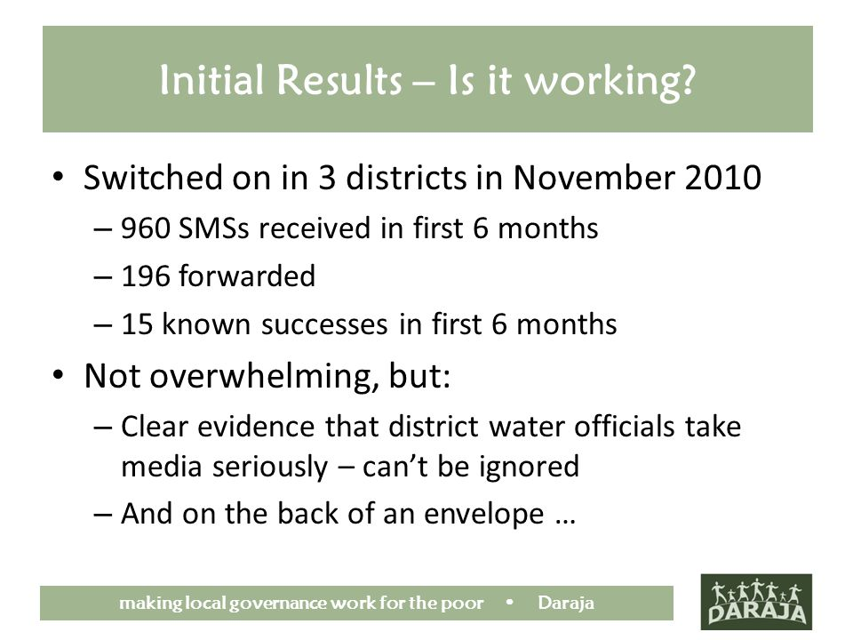 making local governance work for the poor Daraja Initial Results – Is it working? Switched on in 3 districts in November 2010 – 960 SMSs received in f