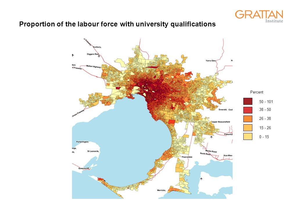 Proportion of the labour force with university qualifications 50 - 101 38 - 50 26 - 38 15 - 26 0 - 15 Percent