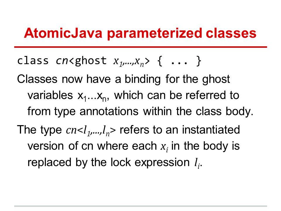 AtomicJava parameterized classes class cn {...