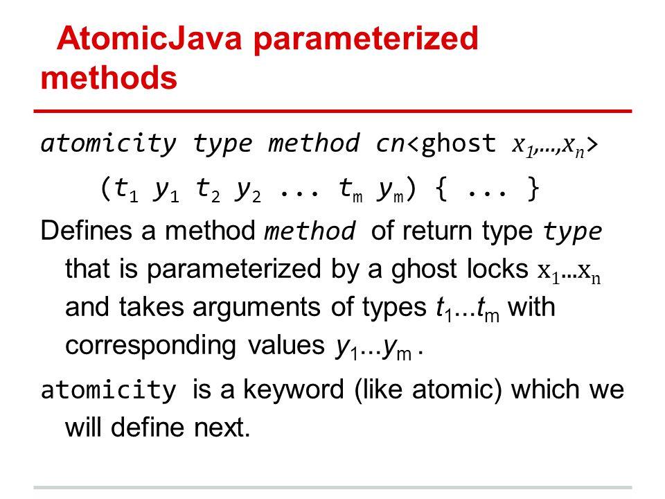 AtomicJava parameterized methods atomicity type method cn (t 1 y 1 t 2 y 2... t m y m ) {... } Defines a method method of return type type that is par