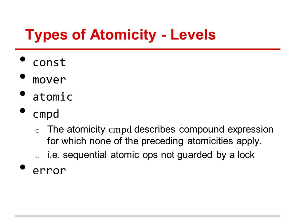 Types of Atomicity - Levels const mover atomic cmpd o The atomicity cmpd describes compound expression for which none of the preceding atomicities apply.