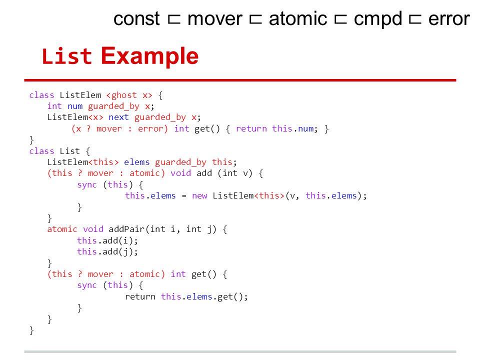 List Example class ListElem { int num guarded_by x; ListElem next guarded_by x; (x ? mover : error) int get() { return this.num; } } class List { List