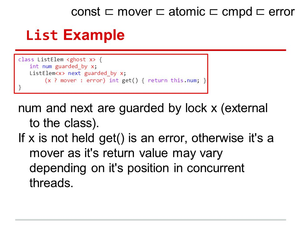 List Example class ListElem { int num guarded_by x; ListElem next guarded_by x; (x .
