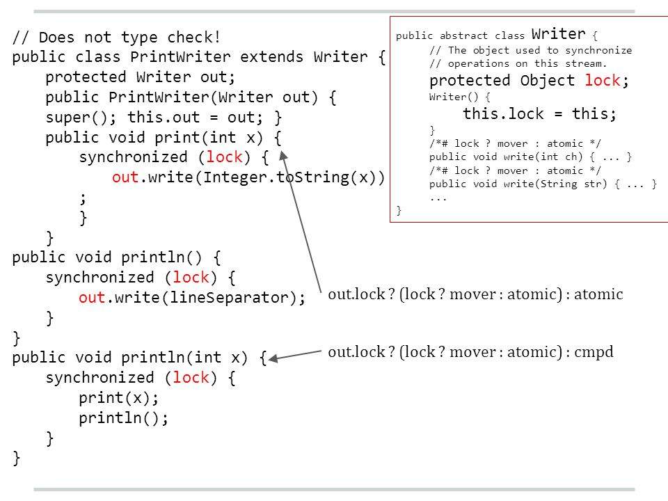 public abstract class Writer { // The object used to synchronize // operations on this stream. protected Object lock; Writer() { this.lock = this; } /