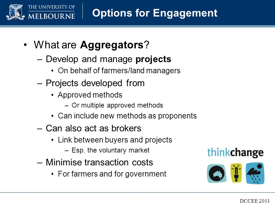 Options for Engagement What are Aggregators.