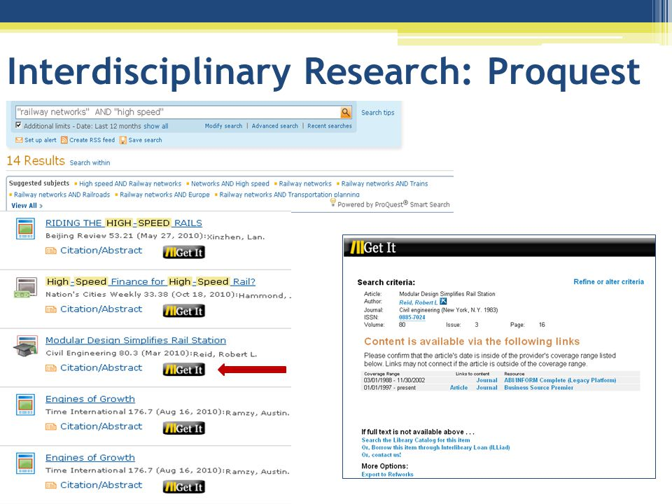 Interdisciplinary Research: Proquest