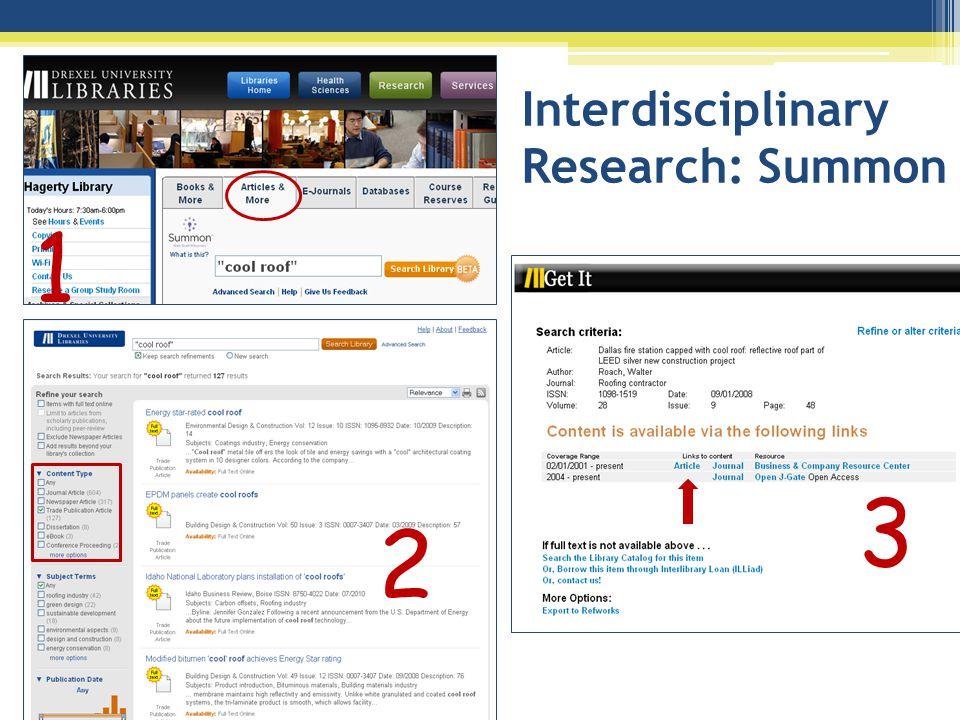 Interdisciplinary Research: Summon 2 1 3