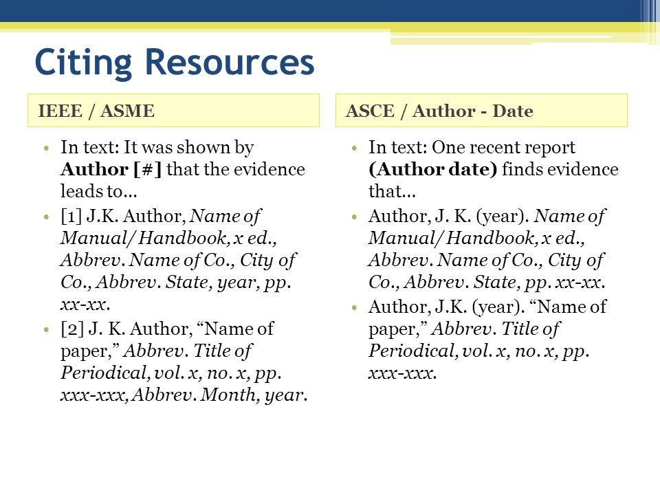 Citing Resources IEEE / ASMEASCE / Author - Date In text: It was shown by Author [#] that the evidence leads to... [1] J.K. Author, Name of Manual/ Ha