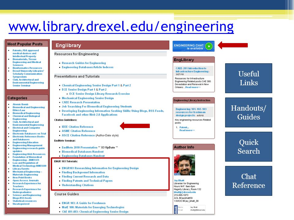 www.library.drexel.edu/engineering Useful Links Handouts/ Guides Quick Search Chat Reference