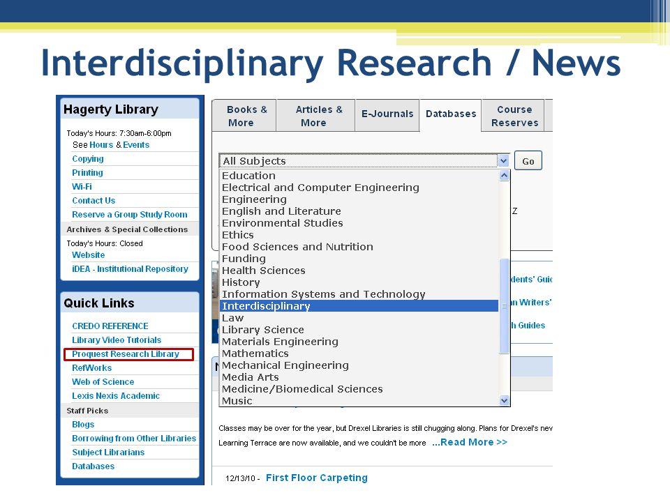 Interdisciplinary Research / News