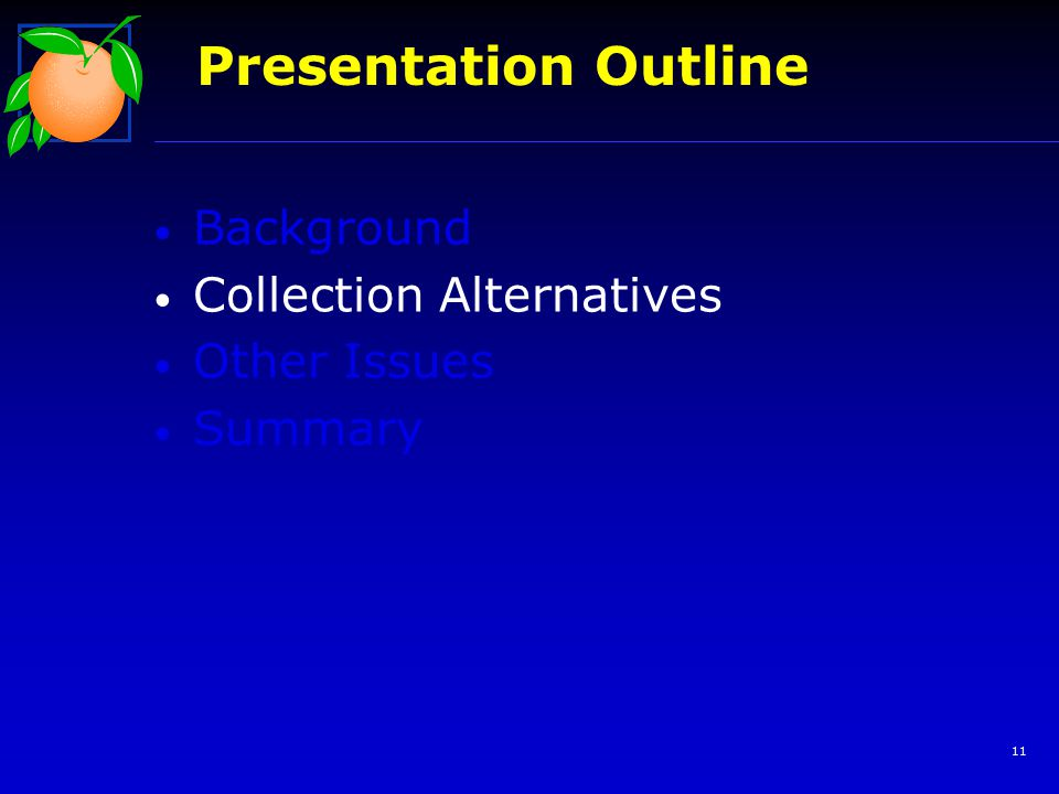11 Background Collection Alternatives Other Issues Summary Presentation Outline