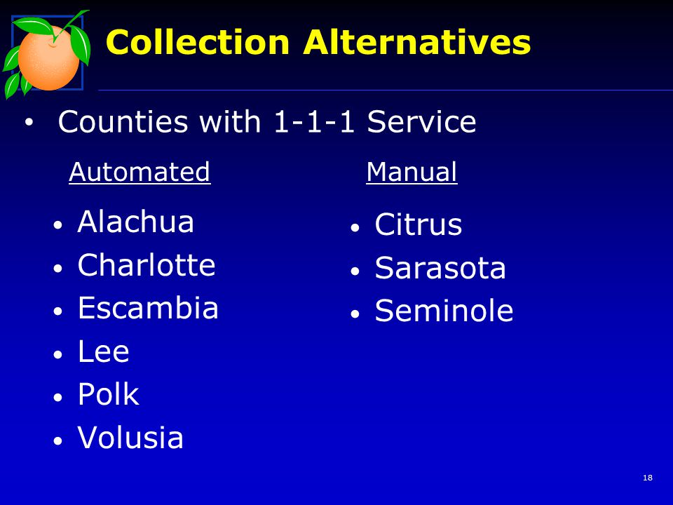 18 Collection Alternatives Counties with 1-1-1 Service Alachua Charlotte Escambia Lee Polk Volusia Citrus Sarasota Seminole AutomatedManual