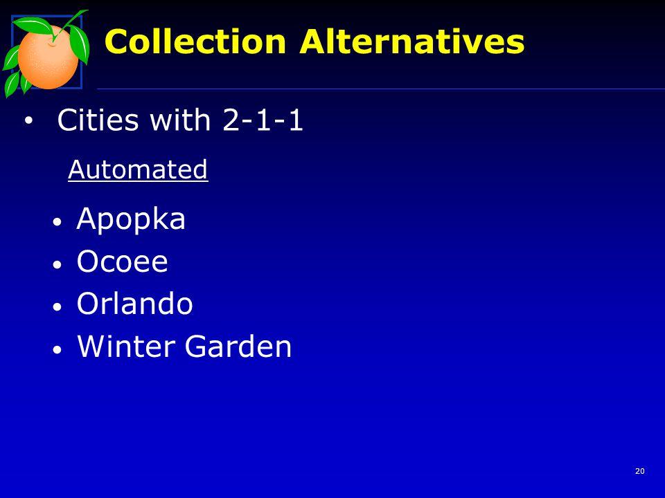 20 Collection Alternatives Cities with 2-1-1 Apopka Ocoee Orlando Winter Garden Automated