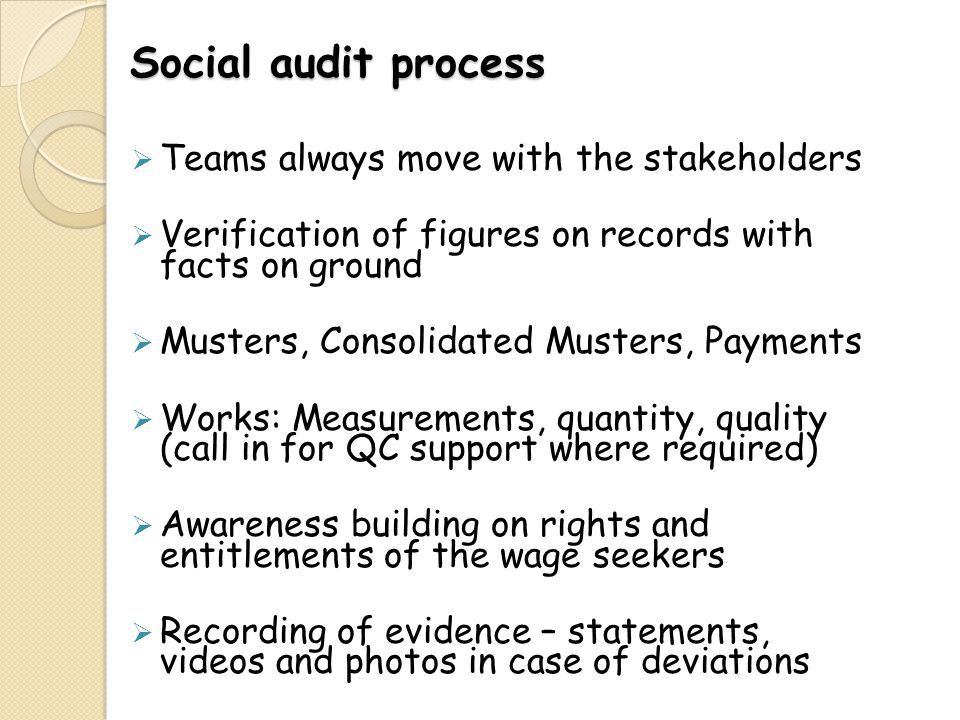 Social audit process Teams always move with the stakeholders Verification of figures on records with facts on ground Musters, Consolidated Musters, Pa