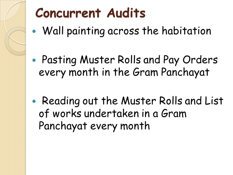Concurrent Audits Wall painting across the habitation Pasting Muster Rolls and Pay Orders every month in the Gram Panchayat Reading out the Muster Rol