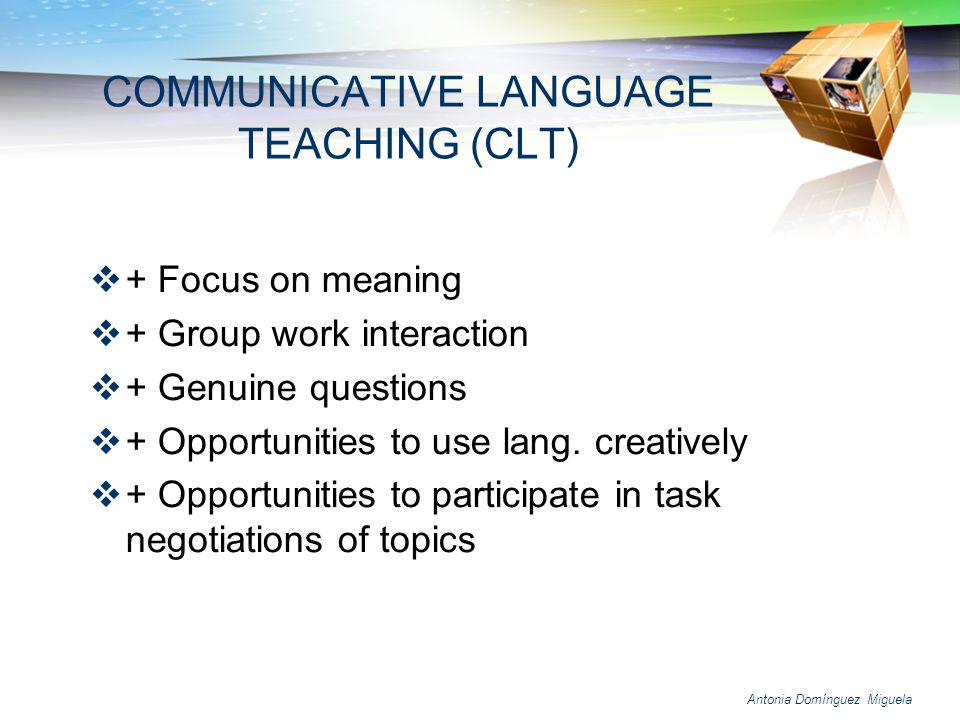 Antonia Domínguez Miguela Injecting content into language classes will also help improve language learning Students are likely to learn more if they are not simply learning language for languages sake, but using the language to accomplish concrete tasks and learn new content Content goals are supported by language goals Weekly agreement on language goals (with the content teachers) Working through cross-curricular themes and project Foster the development of creative and critical thinking