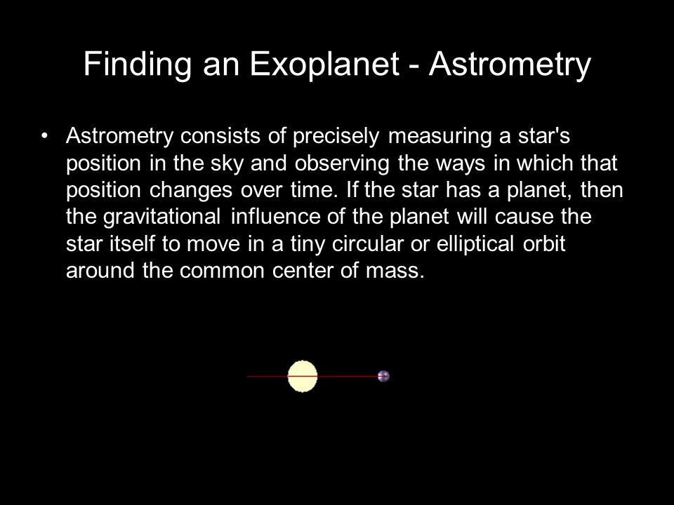 Finding an Exoplanet - Astrometry Astrometry consists of precisely measuring a star s position in the sky and observing the ways in which that position changes over time.