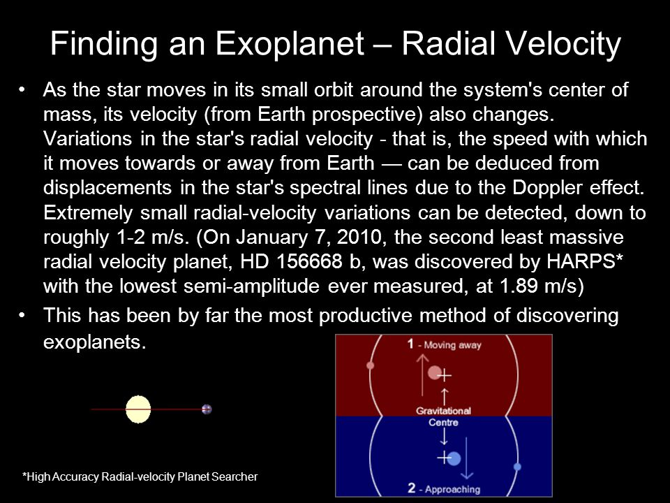 Finding an Exoplanet – Radial Velocity As the star moves in its small orbit around the system s center of mass, its velocity (from Earth prospective) also changes.