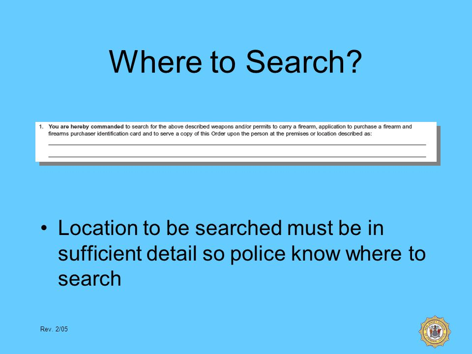 Rev.2/05 Where to Search.