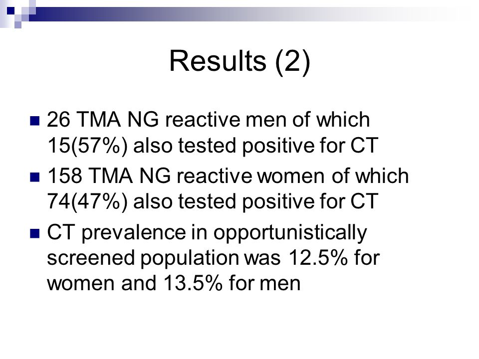 Results (2) 26 TMA NG reactive men of which 15(57%) also tested positive for CT 158 TMA NG reactive women of which 74(47%) also tested positive for CT
