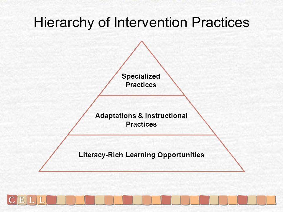 Hierarchy of Intervention Practices Specialized Practices Adaptations & Instructional Practices Literacy-Rich Learning Opportunities