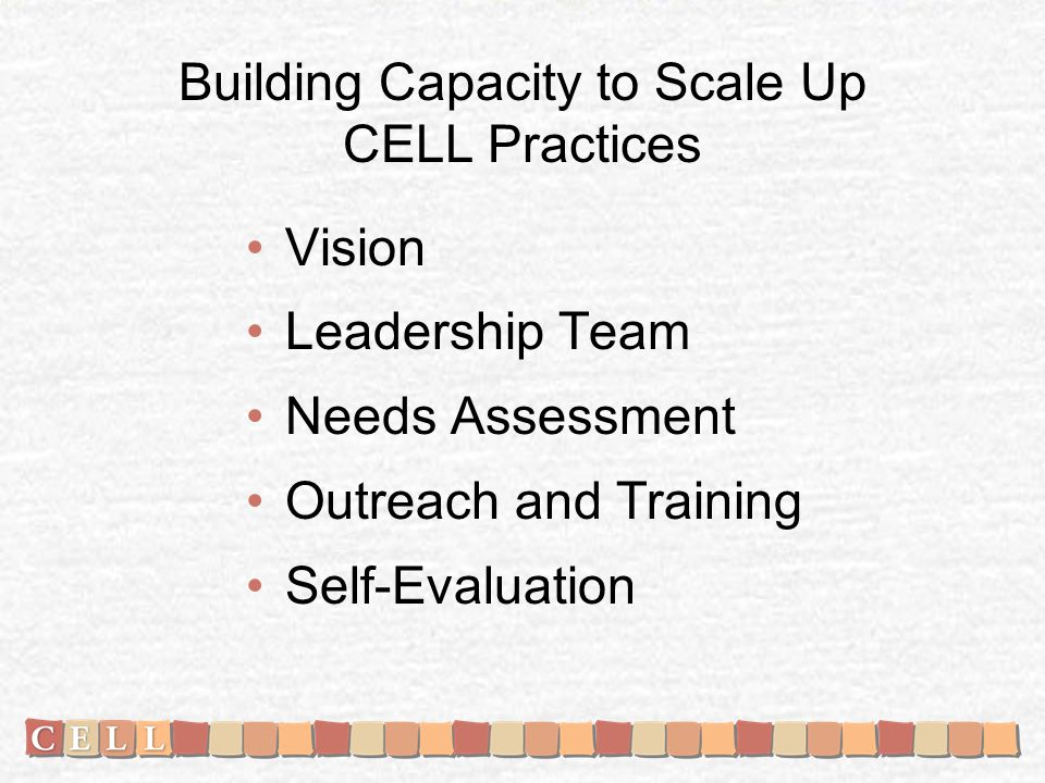 Building Capacity to Scale Up CELL Practices Vision Leadership Team Needs Assessment Outreach and Training Self-Evaluation