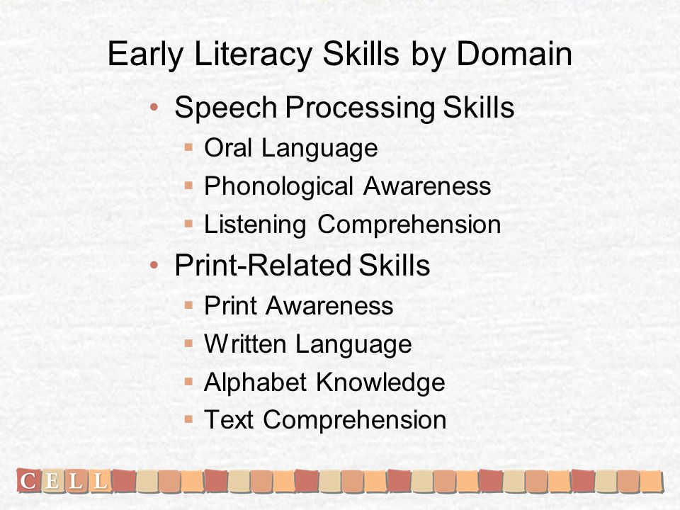 Early Literacy Skills by Domain Speech Processing Skills Oral Language Phonological Awareness Listening Comprehension Print-Related Skills Print Awareness Written Language Alphabet Knowledge Text Comprehension