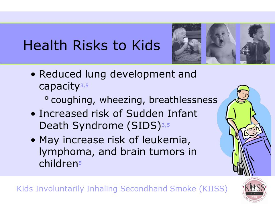 Kids Involuntarily Inhaling Secondhand Smoke (KIISS) Health Risks to Kids Asthma: Can cause new cases of asthma 3,5 Can trigger attacks, and make attacks more severe 3,5 400,000 to 1 million US children have their asthma worsened by exposure to SHS 16 Asthma is the 3rd leading cause of hospitalization for kids under 15 17