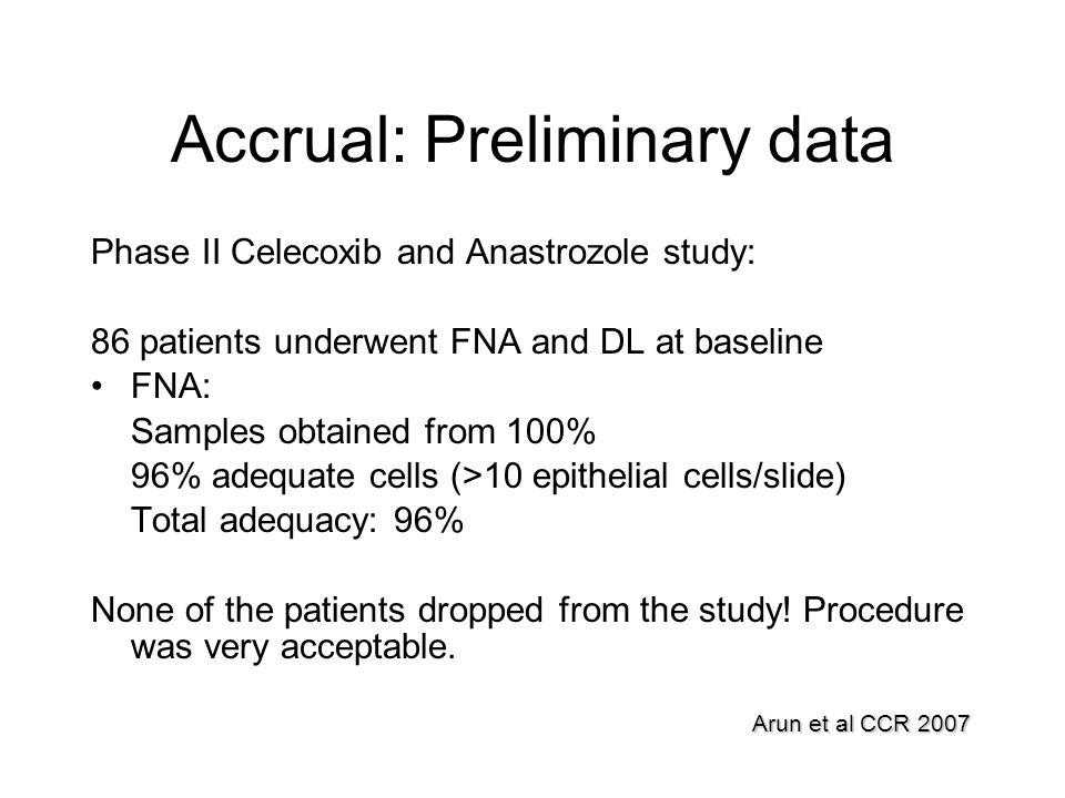 Accrual: Preliminary data Phase II Celecoxib and Anastrozole study: 86 patients underwent FNA and DL at baseline FNA: Samples obtained from 100% 96% a