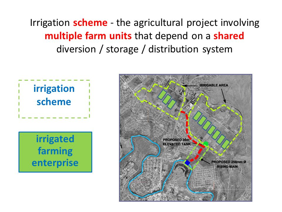Irrigation scheme - the agricultural project involving multiple farm units that depend on a shared diversion / storage / distribution system irrigation scheme irrigated farming enterprise