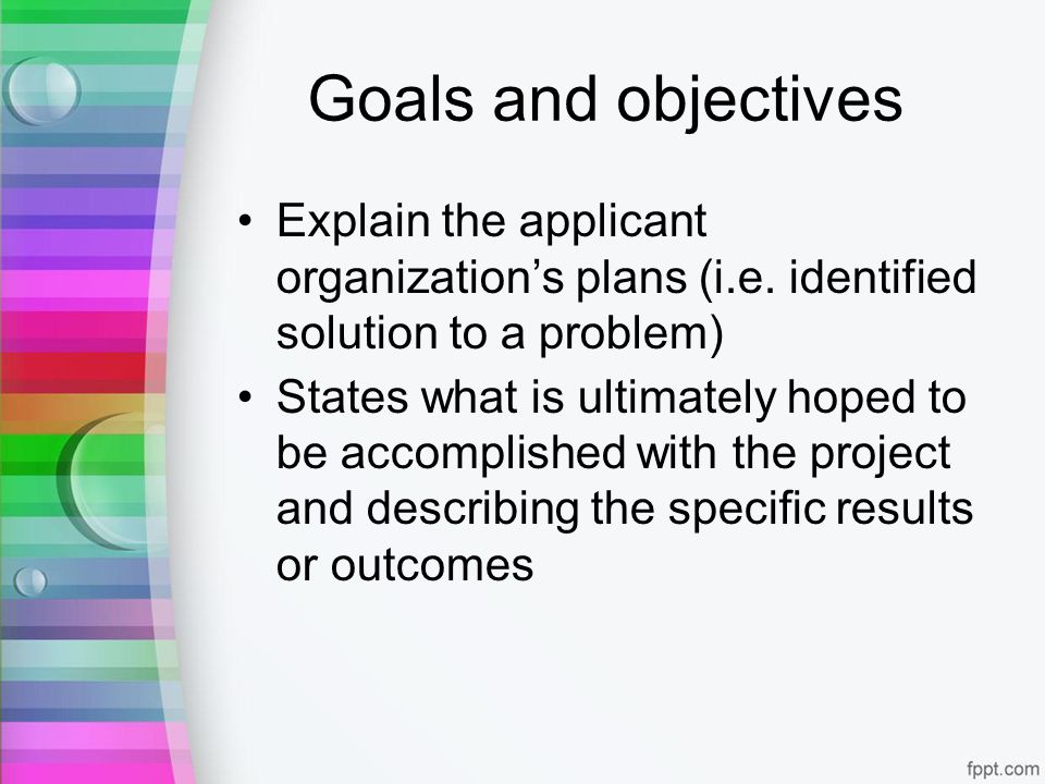 Goals and objectives Explain the applicant organizations plans (i.e.