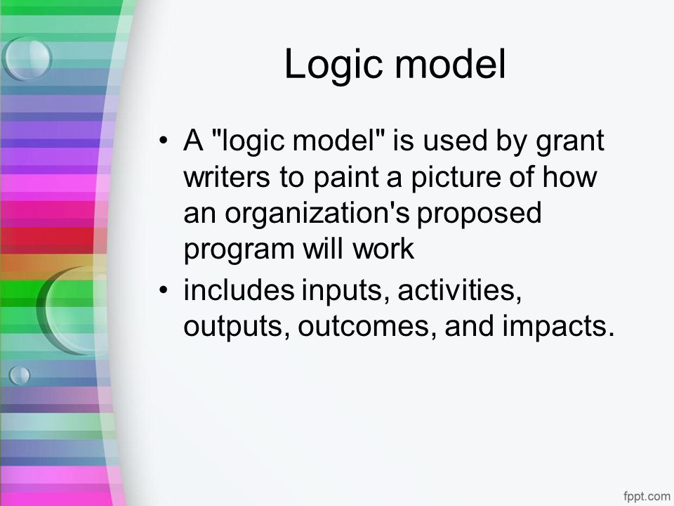 Logic model A logic model is used by grant writers to paint a picture of how an organization s proposed program will work includes inputs, activities, outputs, outcomes, and impacts.
