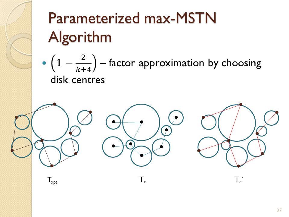 Parameterized max-MSTN Algorithm........................ T opt TcTc T c 27