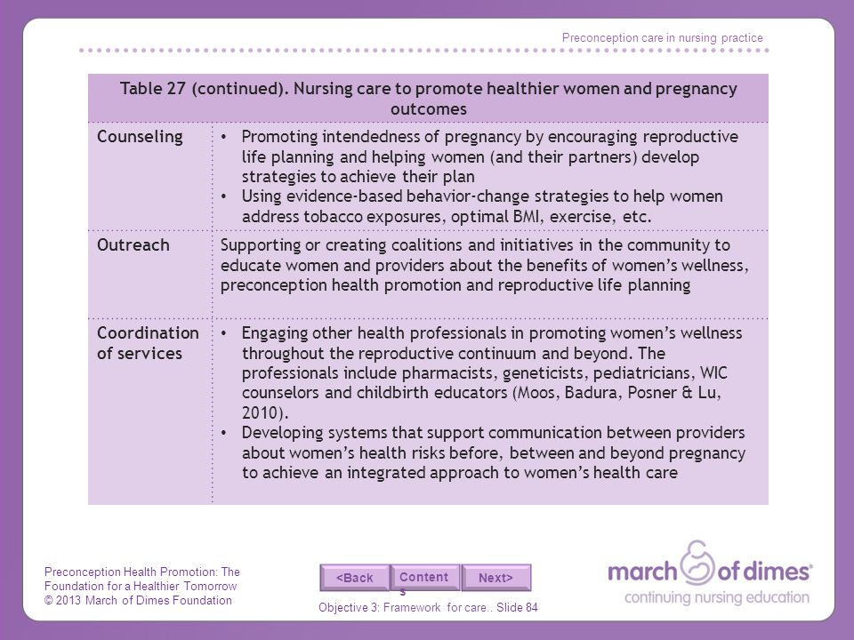 Preconception Health Promotion: The Foundation for a Healthier Tomorrow © 2013 March of Dimes Foundation Objective 3: Framework for care..
