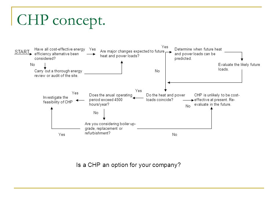 CHP concept. Have all cost-effective energy efficiency alternative been considered? Carry out a thorough energy review or audit of the site. No Yes Ar